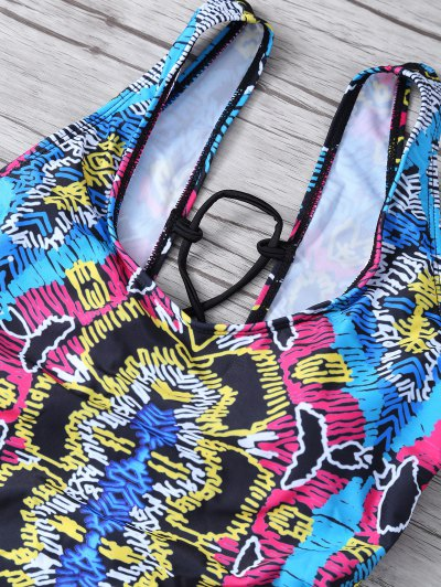 High Leg Printed Tummy Control Swimsuit - MULTICOLOR M Mobile