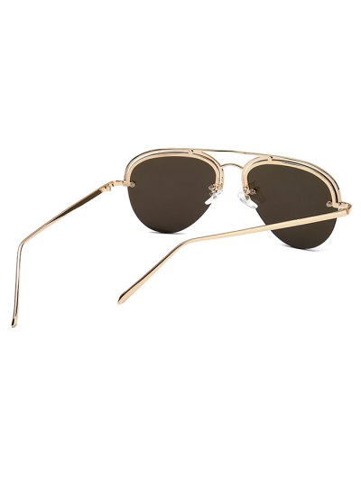 Half Frame Pilot Mirrored Sunglasses - ICE BLUE  Mobile