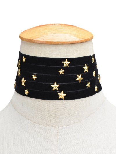 Multilayered Star Velvet Choker - BLACK  Mobile