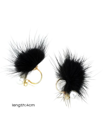 Fuzzy Ball Earrings - BLACK  Mobile