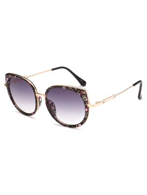 Full Rims Floral Cat Eye Sunglasses - Black