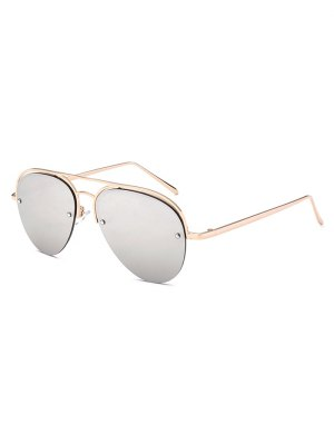Half Frame Pilot Mirrored Sunglasses - Silver
