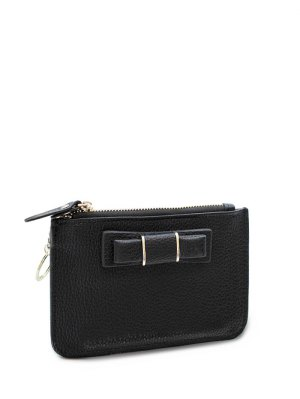 Bowknot PU Leather Coin Purse - Black