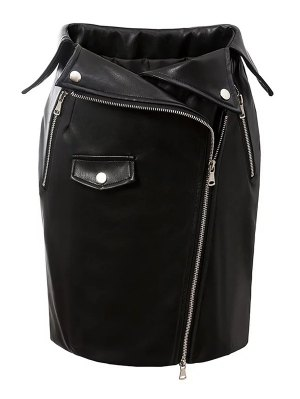PU Leather Zippered Bodycon Skirt - Black