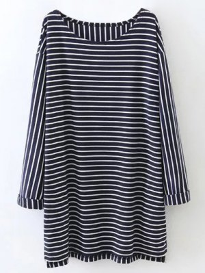 Oversized Striped T-Shirt - Purplish Blue