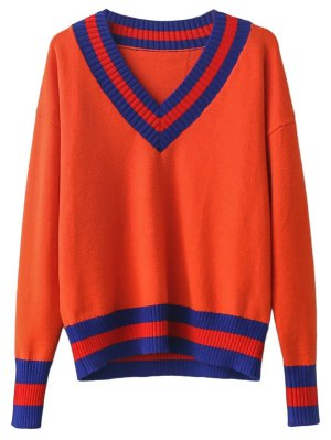 V Neck Cricket Sweater - Jacinth