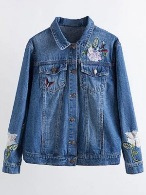 Flower Embroidered Pockets Denim Jacket - Denim Blue