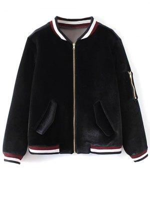 Velvet Zipped Bomber Jacket - Black