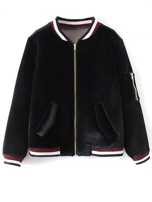 Velvet Zipped Bomber Jacket - Black