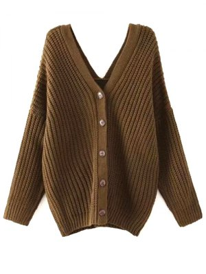 Buttoned Oversized Dolman Cardigan - Army Green