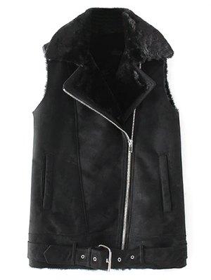 Zipped Faux Shearling Waistcoat - Black