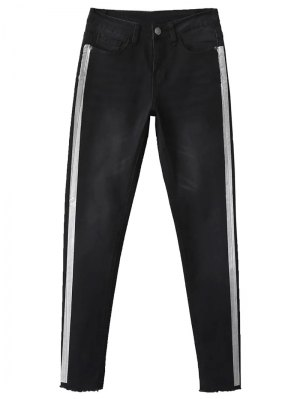 Frayed Tapered Slim Jeans - Black