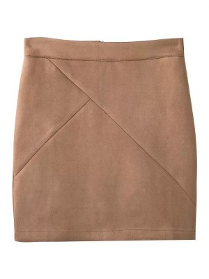 Fake Suede Mini Skirt - Khaki