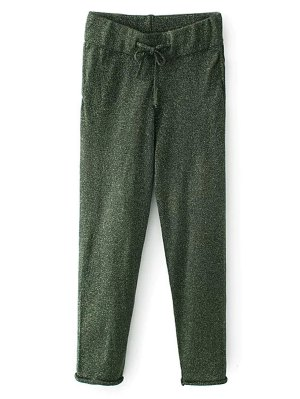 Knitted Drawstring Jogging Pants - Green