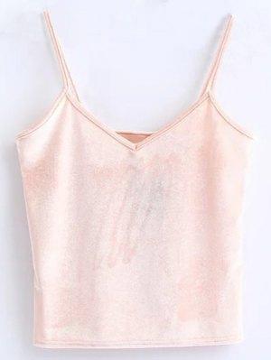 Velvet Cropped Cami Top - Pink