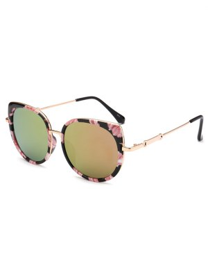 Floral Cat Eye Mirrored Sunglasses - Golden