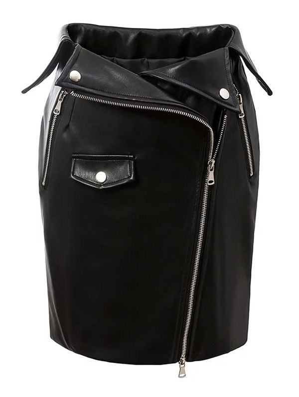 Zippered PU Leather Bodycon Skirt
