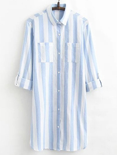 Long Shirt Striped Shirt Dress
