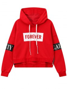 Side Zipper Graphic Patched Hoodie