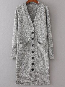 Longline V Neck Button Up Cardigan - Light Gray M