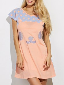Cartoon Pattern Lounge Tee Dress