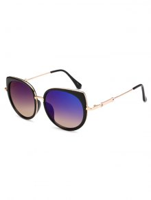 Cat Eye Mirrored Sunglasses - Blue