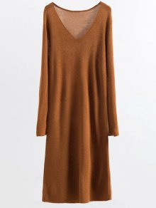 Long Sleeve Knitting Midi Dress - Ginger