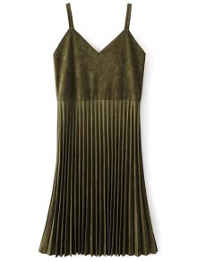 Buy Pleated Faux Suede Slip Dress L ARMY GREEN