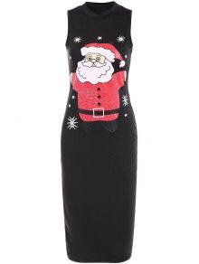 Christmas Santa Clause Midi Bodycon Dress - Black