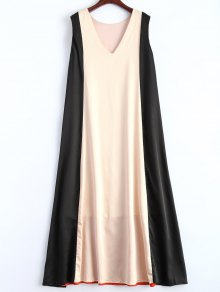 Color Block V Neck Trapeze Maxi Dress