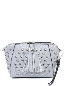 PU Leather Tassel Studded Clutch Bag