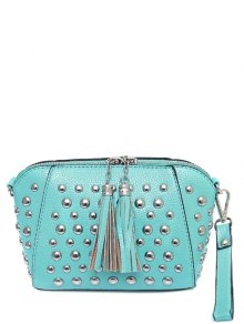 PU Leather Tassel Studded Clutch Bag