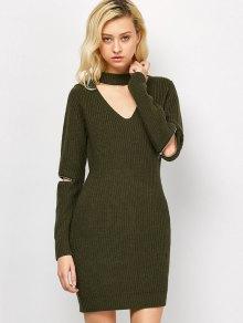 Choker Neck Mini Fitted Sweater Dress