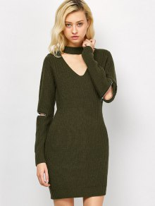 Choker Neck Mini Fitted Sweater Dress - Army Green L