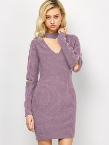 Choker Neck Mini Fitted Sweater Dress - Pink M