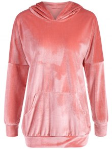 Hooded Long Sleeve Velvet Casual Dress - Pink M