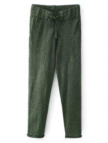 Knitted Drawstring Jogging Pants - Green M
