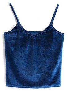 Velvet Cropped Cami Top - Peacock Blue