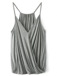 V Neck Wrap Cami Top - Gray S