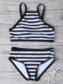 High Neck Stripe Bikini Set