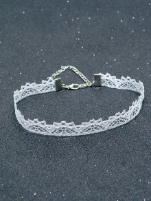 Lace Hollowed Choker - White