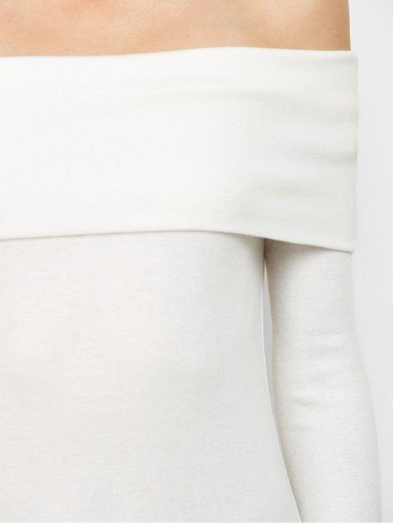 Off the Shoulder Mini Bodycon Party Dress - WHITE L Mobile