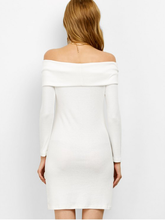 Off the Shoulder Mini Bodycon Party Dress - WHITE S Mobile