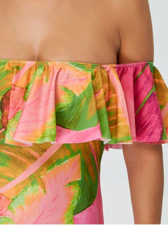 Ruffles Off Shoulder Leaf Print Swimwear - COLORMIX S Mobile