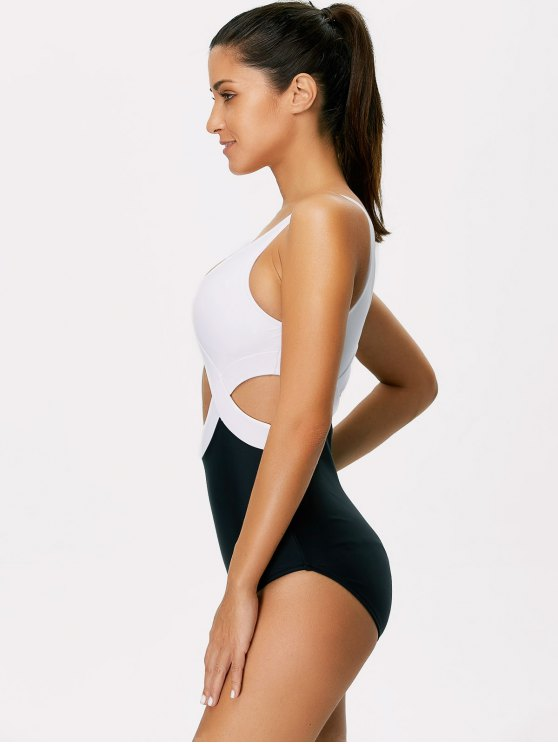 Color Block Cut Out Swimsuit - WHITE AND BLACK S Mobile
