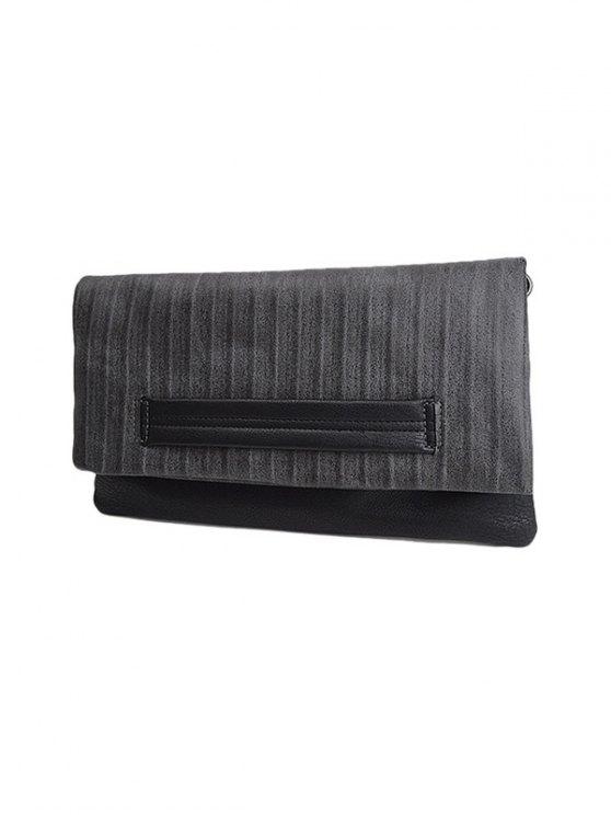 Stripe PU Leather Magnetic Closure Clutch Bag - GRAY  Mobile