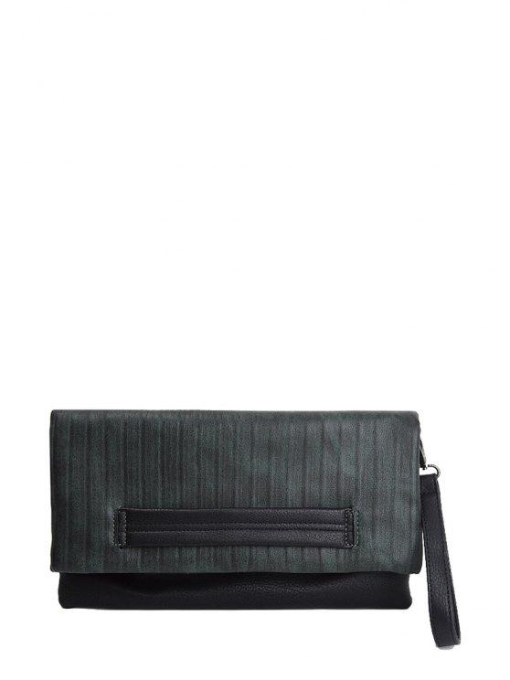 Stripe PU Leather Magnetic Closure Clutch Bag - BLACKISH GREEN  Mobile