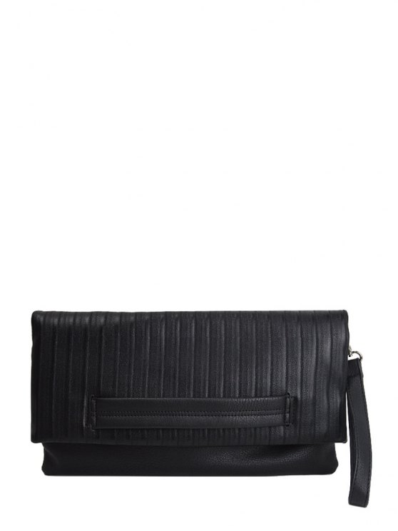 Stripe PU Leather Magnetic Closure Clutch Bag - BLACK  Mobile