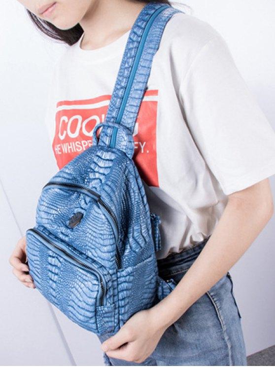Crocodile Embossing PU Leather Backpack - BLUE  Mobile
