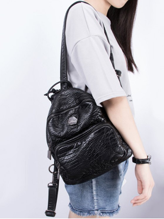 Crocodile Embossing PU Leather Backpack - BLACK  Mobile